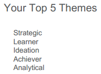 StrengthsFinder - Top 5 Themes for Michael Kitces - Strategic Learner Ideation Achiever Analytical