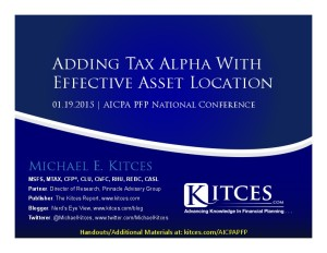 Adding Tax Alpha With Effective Asset Location - AICPA PFP Conference - January 19 2015 - Handouts