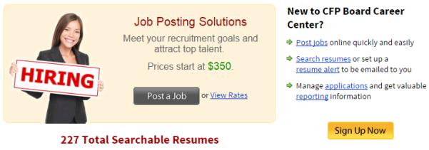 CFP Board Hiring Firms And Job Postings