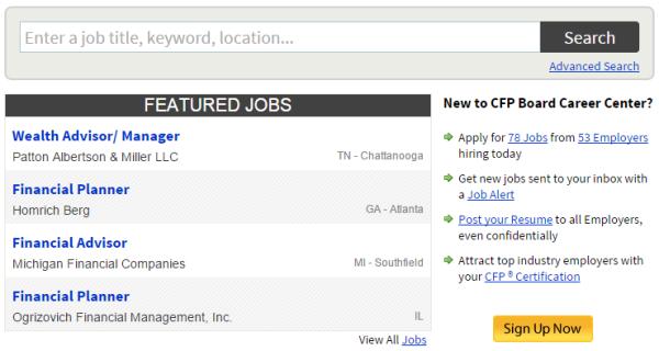 CFP Board Job Seekers Section