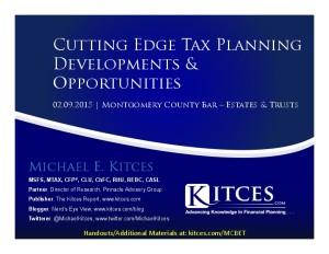 Cutting Edge Tax Planning Developments & Opportunities - Montgomery County Bar - Feb 9 2015 - Handouts-thumbnail