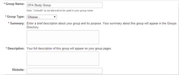 Dinino LinkedIn Create a Group Website Example