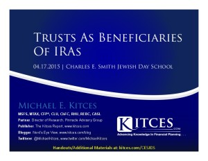 Trusts as Beneficiaries Of IRAs - CES Jewish Day School - Apr 17 2015 - Cover Page-thumbnail
