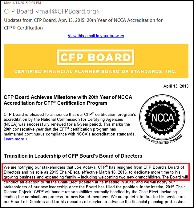 CFP Board Announcement Of Joseph Votava Chair-Elect Resignation