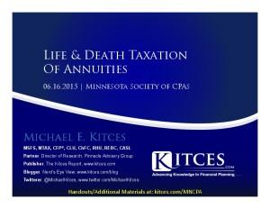 Life & Death Taxation Of Annuities - MNCPA - Jun 16 2015 - Handouts