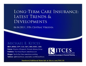 Long-Term Care Insurance Trends & Developments - FPA Central Virginia - Jun 4 2015 - Handouts
