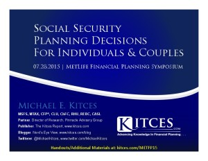 Social Security Planning Decisions For Couples - MetLife - Jul 28 2015 - Handouts