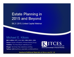 Estate Planning in 2015 and Beyond - United Capital - Sep 21 2015 - Handouts