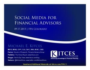 Social Media For Financial Advisors - FPA Colorado - Sep 17 2015 - Handouts