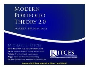 Modern Portfolio Theory 2.0 - FPA New Jersey - Oct 29 2015 - Handouts