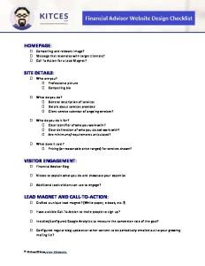 Financial Advisor Website Design Checklist