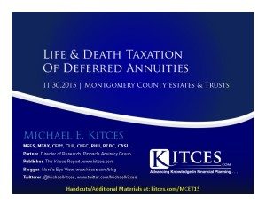 Life & Death Taxation Of Deferred Annuities - Montgomery County Bar - Nov 30 2015 - Cover Page-thumbnail