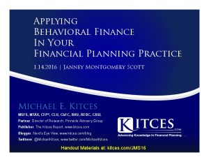Applying Behavioral Finance In Your Financial Planning Practice - Janey Montgomery - Jan 14 2016 - Cover Page-thumbnail