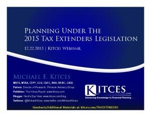 Planning Under The 2015 Tax Extenders Legislation - Webinar - Dec 22 2015 - Cover Page-thumbnail