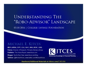 Understanding The Robo-Advisor Landscape - College Savings Foundation - Mar 10 2016 - Cover Page-thumbnail