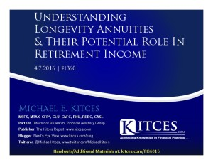 Understanding Longevity Annuities And Their Potential Role In Retirement Income - fi360 - Apr 7 2016 - Cover Page-thumbnail