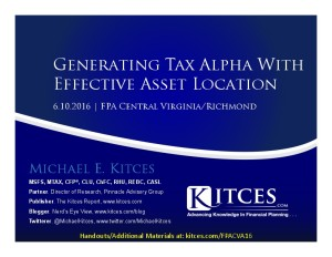 Generating Tax Alpha With Effective Asset Location - FPA Central VA-Richmond - Jun 10 2016 - Cover Page-thumbnail
