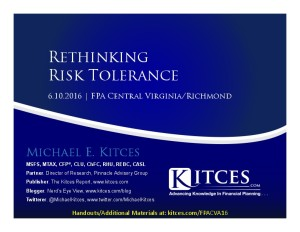 Rethinking Risk Tolerance - FPA Central VA-Richmond - Jun 10 2016 - Cover Page-thumbnail