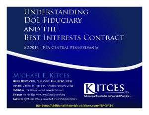 Understanding DoL Fiduciary And The Best Interests Contract - FPA Central Penn - Jun 2 2016 - Cover Page-thumbnail