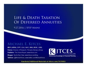 Life & Death Taxation Of Deferred Annuities - SFSP Maine - Sep 27 2016 - Cover Page-thumbnail