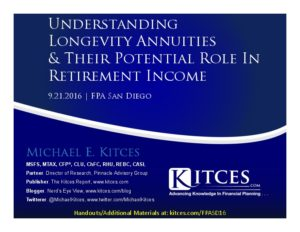 Understanding Longevity Annuities And Their Potential Role In Retirement Income - FPA San Diego - Sep 21 2016 - Cover Page-thumbnail