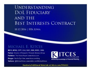 Understanding DoL Fiduciary And The Best Interests Contract - FPA Iowa - Oct 12 2016 - Cover Page-thumbnail