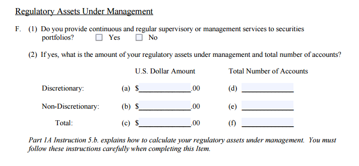 5.F On Part 1 Of The Form ADV Filing