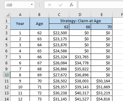 Excel Social Security Claiming Table