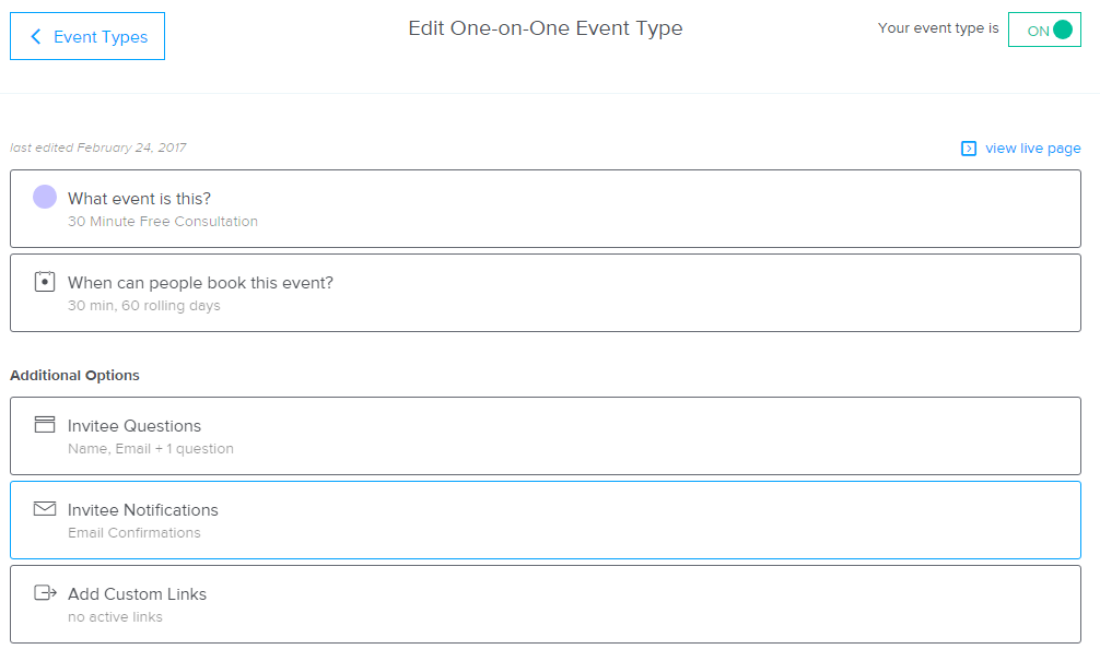 Edit One-On-One Event Type