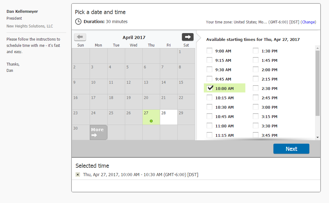 ScheduleOnce Date And Time Selection