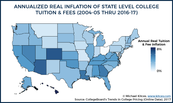State Level Changes In Published Tuition And Fees From 2004-2005 to 2016-2017