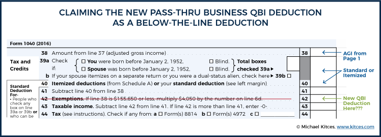 Claiming The New Pass-Thru Business QBI Deduction As A Below-The-Line Deduction