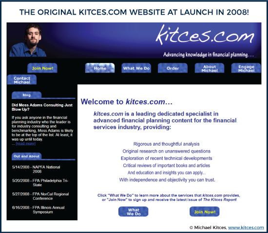The Original Kitces.com Website At Launch In 2008!