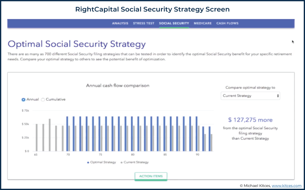 Screenshot of RightCapital Social Security Strategy Screen