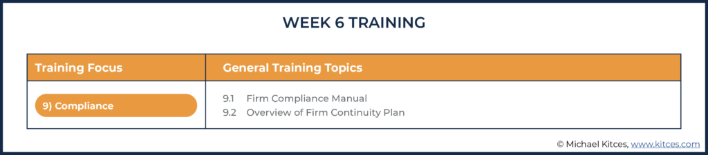 Image of week six training topics