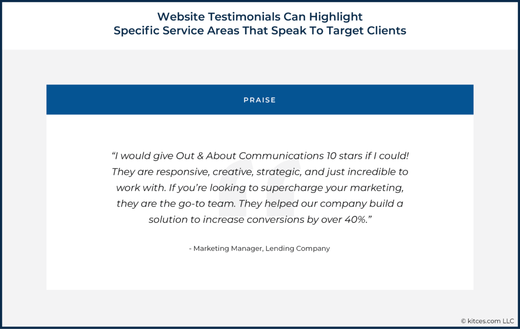 Website Testimonials Can Highlight Specific Service Areas That Speak To Target Clients